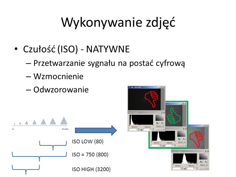 Wykonywanie zdjęć Czułość (ISO) - NATYWNE – Przetwarzanie sygnału na postać cyfrową – Wzmocnienie – Odwzorowanie    ISO = 750 (800) ISO LOW (80) IS