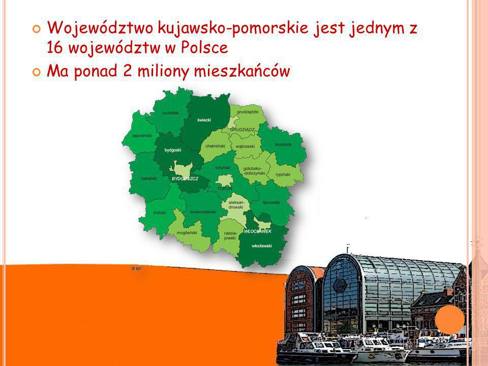Województwo kujawsko-pomorskie jest jednym z 16 województw w Polsce Ma ponad 2 miliony mieszkańców