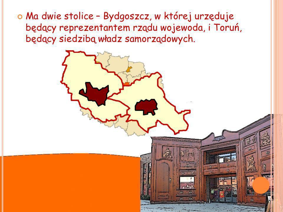 Ma dwie stolice – Bydgoszcz, w której urzęduje będący reprezentantem rządu wojewoda, i Toruń, będący siedzibą władz samorządowych.