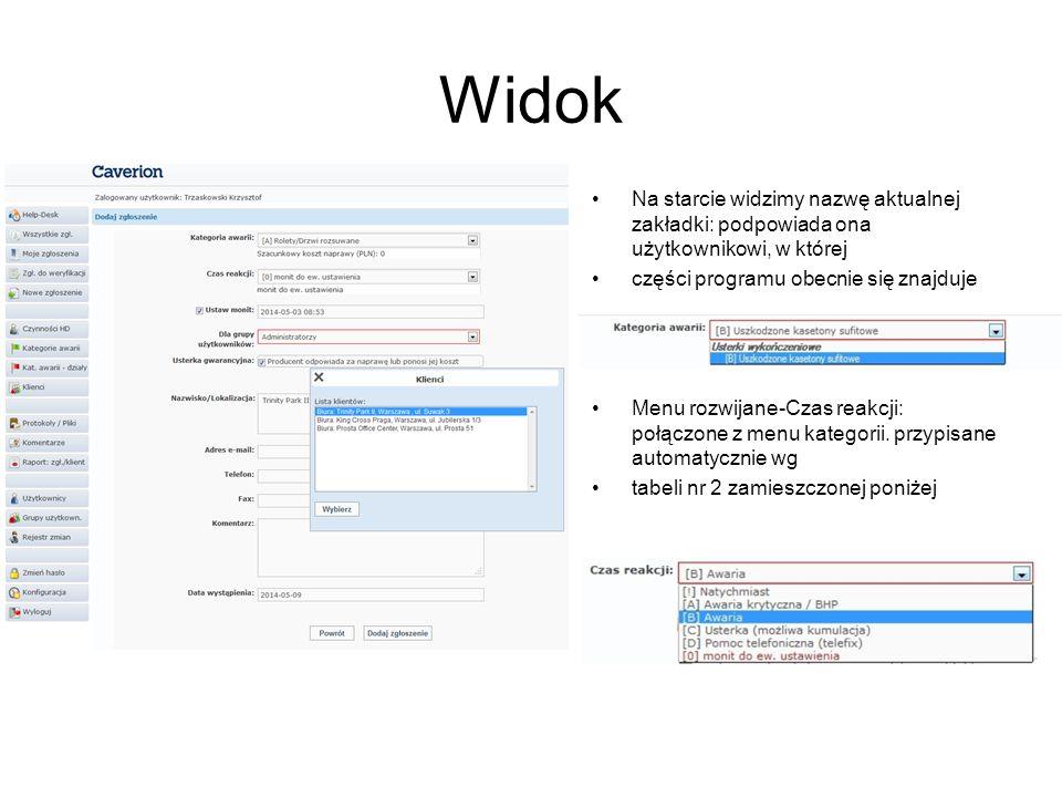 Widok Na starcie widzimy nazwę aktualnej zakładki: podpowiada ona użytkownikowi, w której części programu obecnie się znajduje Menu rozwijane-Czas reakcji: połączone z menu kategorii.