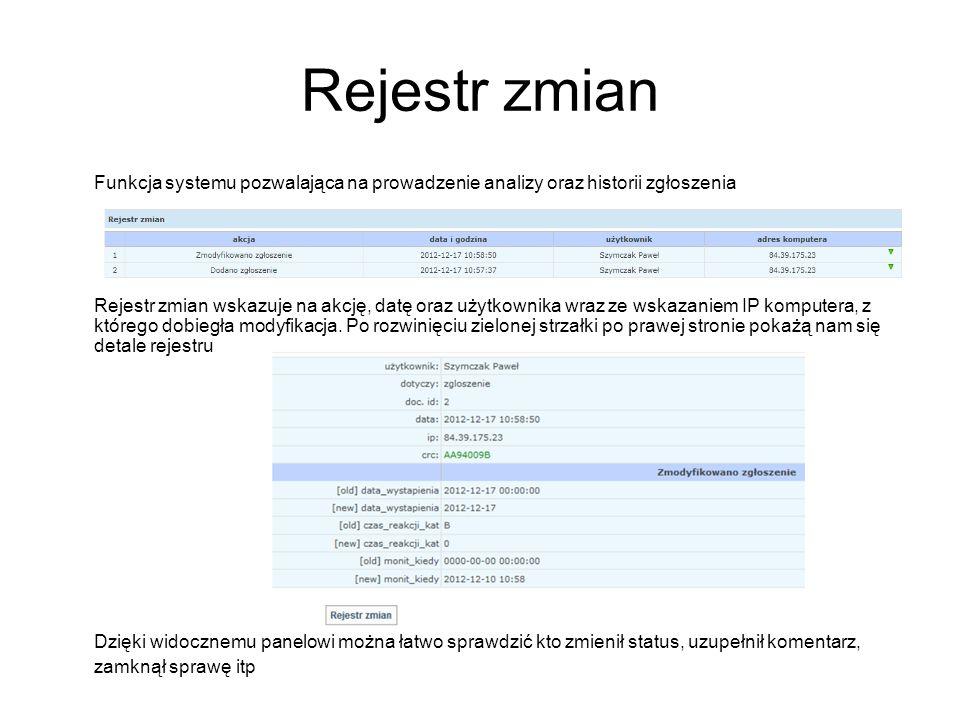Rejestr zmian Funkcja systemu pozwalająca na prowadzenie analizy oraz historii zgłoszenia Rejestr zmian wskazuje na akcję, datę oraz użytkownika wraz ze wskazaniem IP komputera, z którego dobiegła modyfikacja.