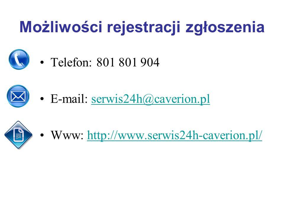 Możliwości rejestracji zgłoszenia Telefon: 801 801 904 E-mail: serwis24h@caverion.plserwis24h@caverion.pl Www: http://www.serwis24h-caverion.pl/http://www.serwis24h-caverion.pl/