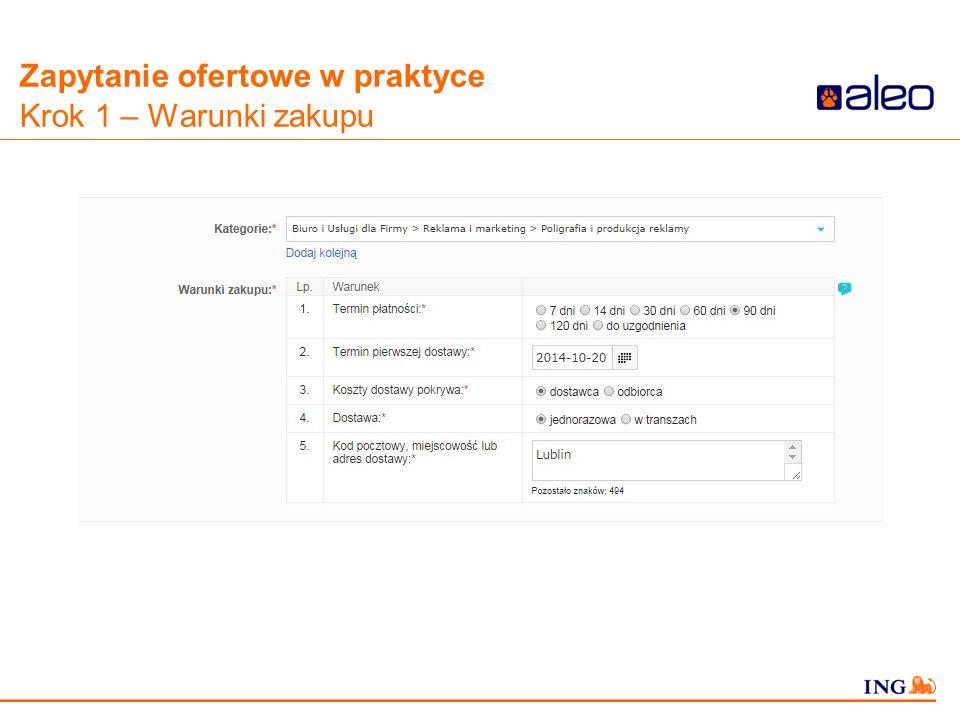 Do not put content in the Brand Signature area Zapytanie ofertowe w praktyce Krok 1 – Warunki zakupu