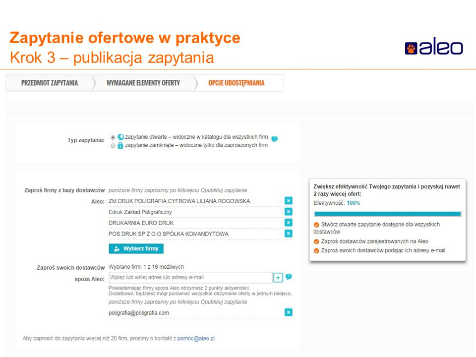 Do not put content in the Brand Signature area Zapytanie ofertowe w praktyce Krok 3 – publikacja zapytania
