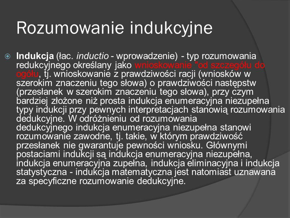 Rozumowanie indukcyjne  Indukcja (łac. inductio - wprowadzenie) - typ rozumowania redukcyjnego określany jako wnioskowanie