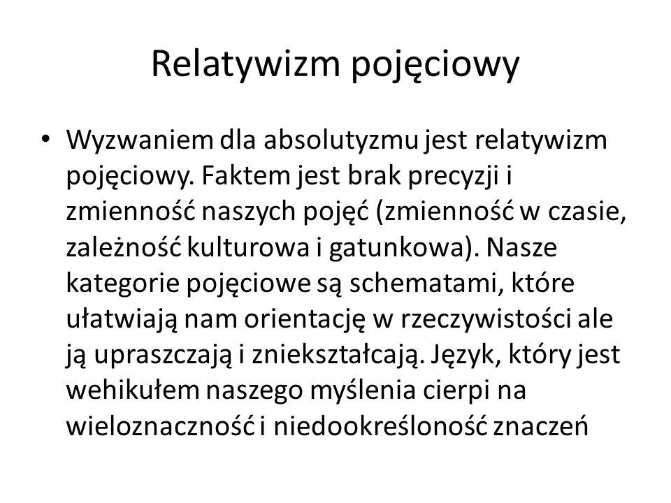 Relatywizm pojęciowy Wyzwaniem dla absolutyzmu jest relatywizm pojęciowy. Faktem jest brak precyzji i zmienność naszych pojęć (zmienność w czasie, zal