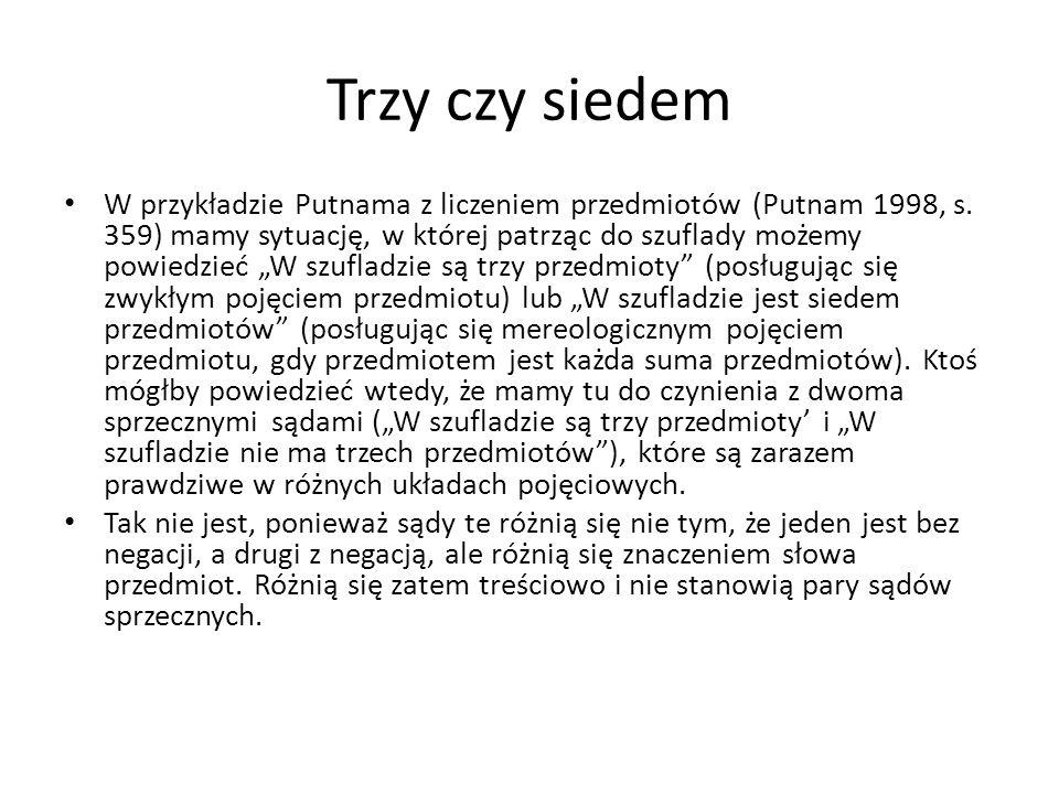 """Trzy czy siedem W przykładzie Putnama z liczeniem przedmiotów (Putnam 1998, s. 359) mamy sytuację, w której patrząc do szuflady możemy powiedzieć """"W s"""