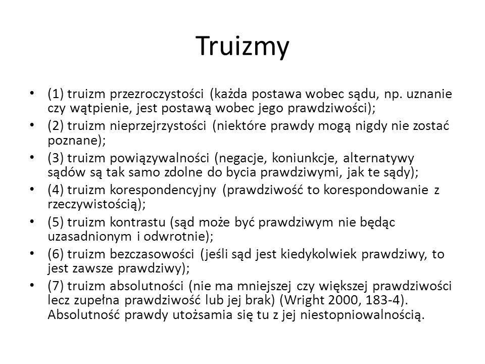 Truizmy (1) truizm przezroczystości (każda postawa wobec sądu, np. uznanie czy wątpienie, jest postawą wobec jego prawdziwości); (2) truizm nieprzejrz