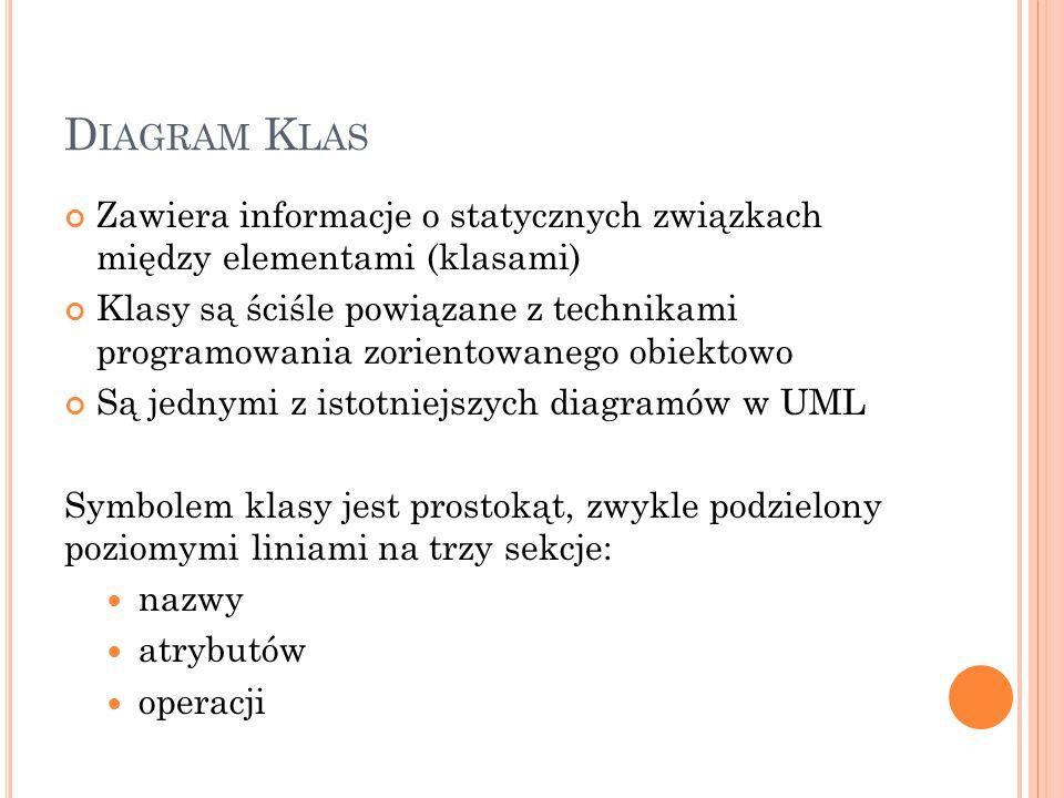 D IAGRAM K LAS Zawiera informacje o statycznych związkach między elementami (klasami) Klasy są ściśle powiązane z technikami programowania zorientowanego obiektowo Są jednymi z istotniejszych diagramów w UML Symbolem klasy jest prostokąt, zwykle podzielony poziomymi liniami na trzy sekcje: nazwy atrybutów operacji