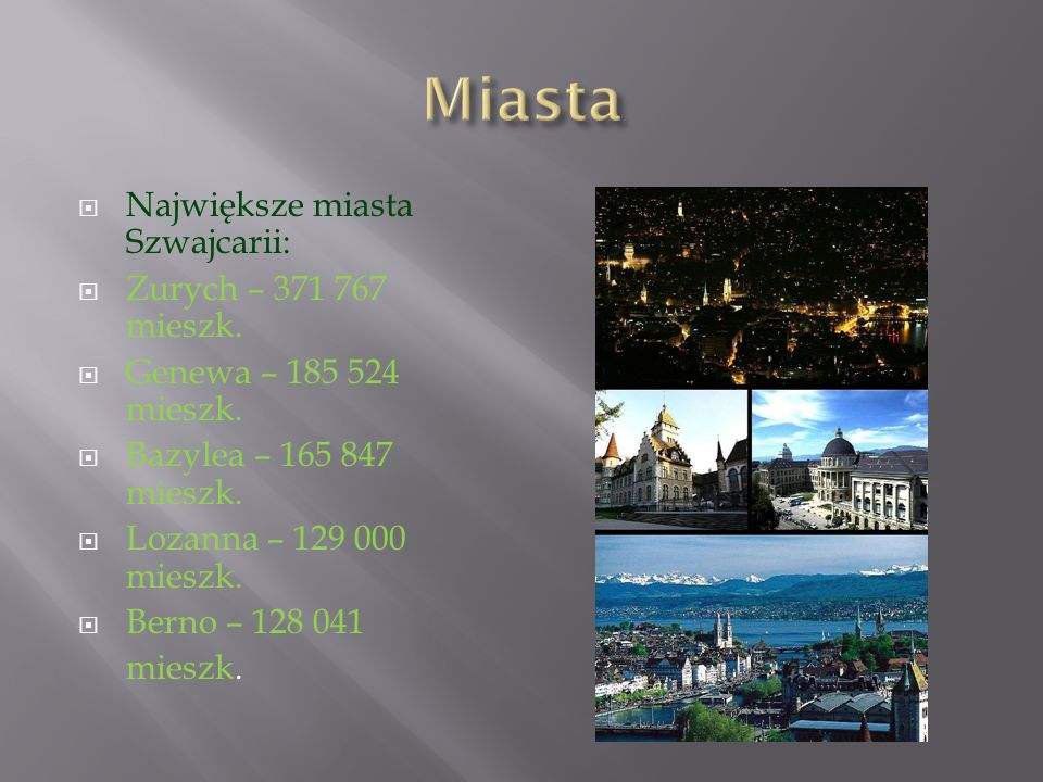 W Szwajcarii są cztery języki urzędowe: niemiecki, franc uski, włoski oraz romansz (retoromański).