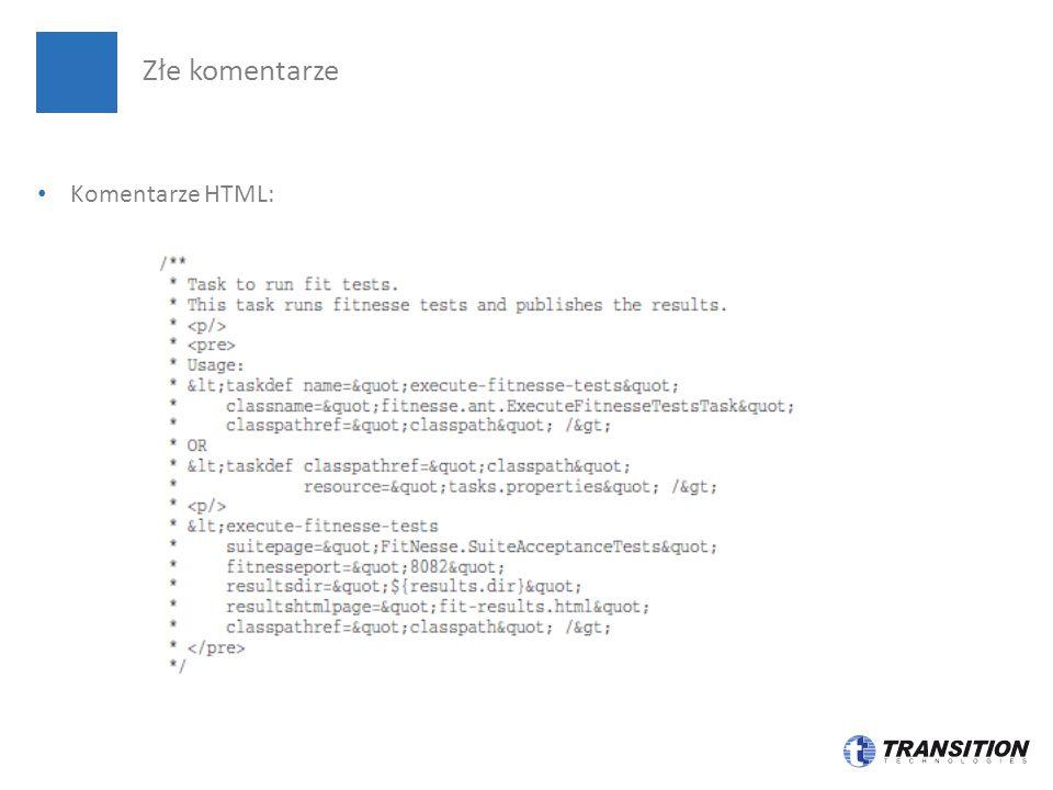 Komentarze HTML: Złe komentarze