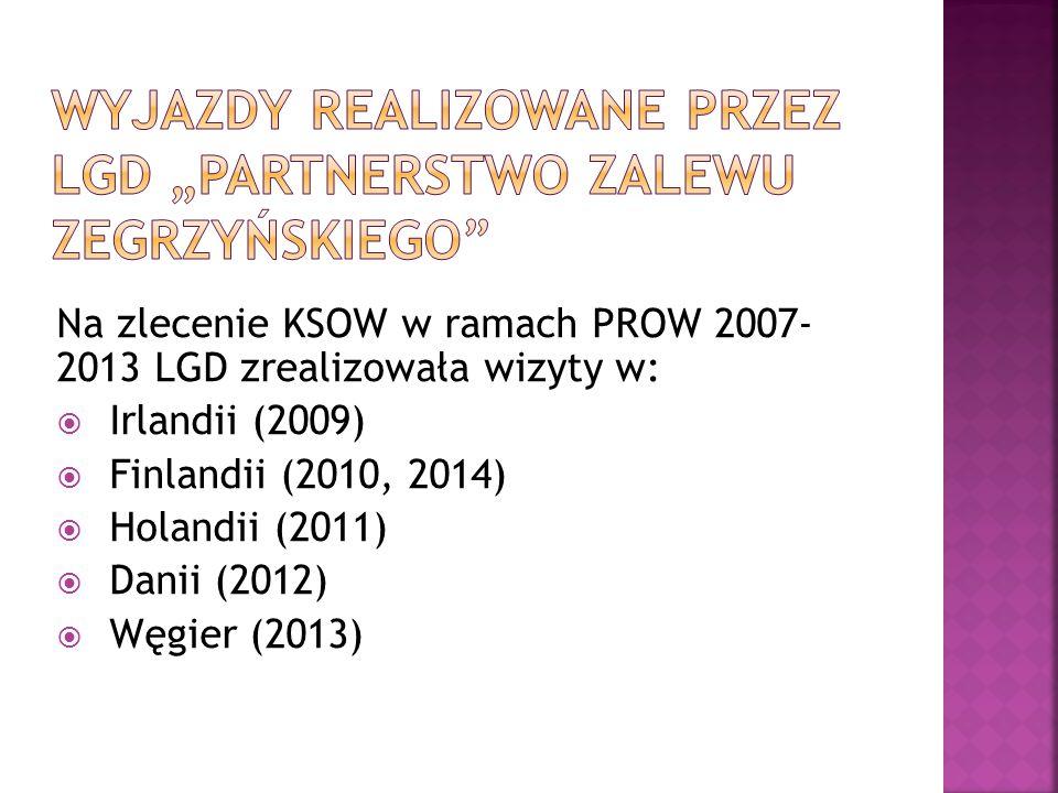 Na zlecenie KSOW w ramach PROW 2007- 2013 LGD zrealizowała wizyty w:  Irlandii (2009)  Finlandii (2010, 2014)  Holandii (2011)  Danii (2012)  Węgier (2013)