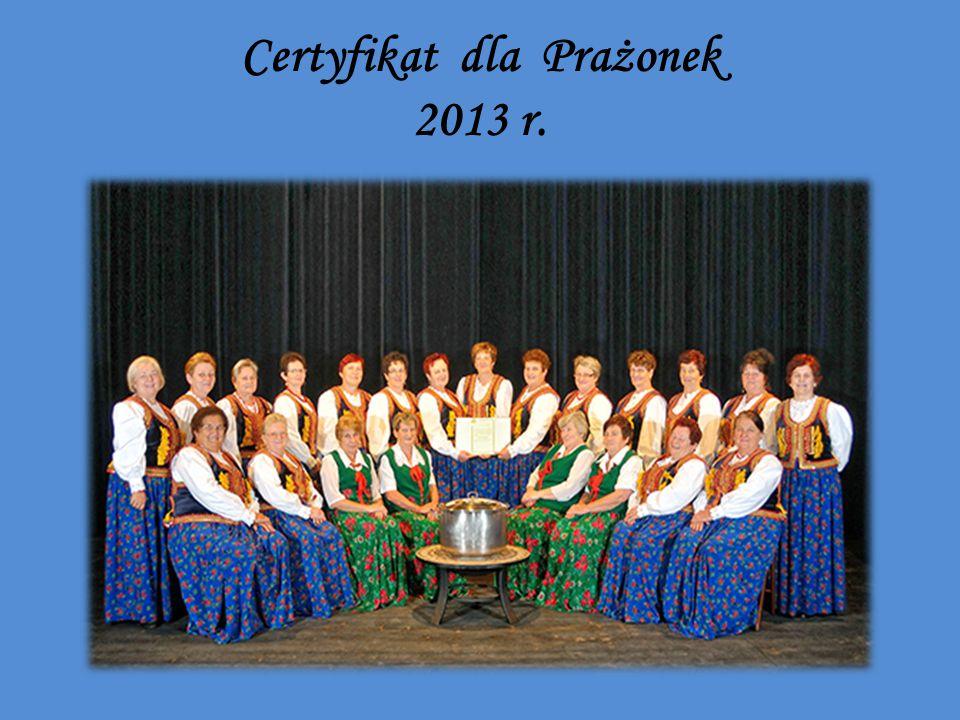 Certyfikat dla Prażonek 2013 r.