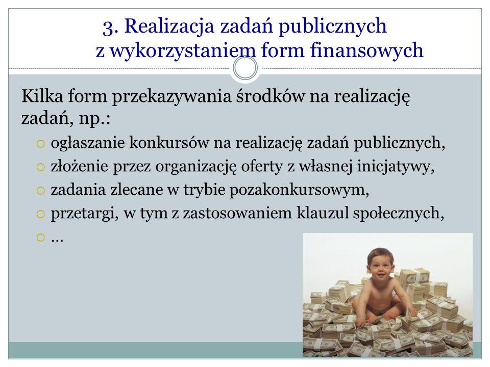 3. Realizacja zadań publicznych z wykorzystaniem form finansowych Kilka form przekazywania środków na realizację zadań, np.:  ogłaszanie konkursów na