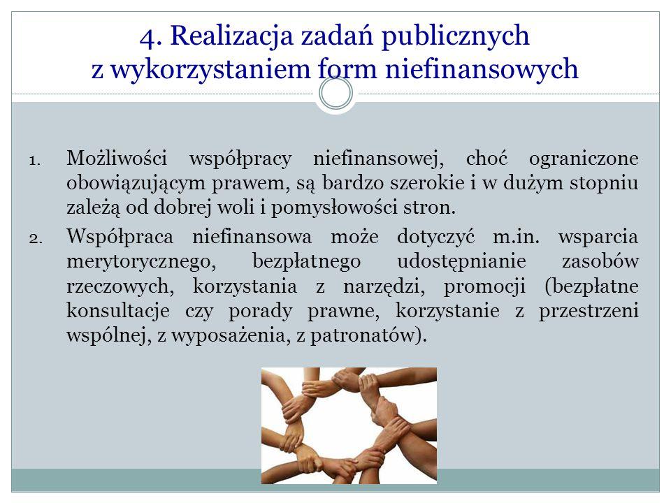 4. Realizacja zadań publicznych z wykorzystaniem form niefinansowych 1. Możliwości współpracy niefinansowej, choć ograniczone obowiązującym prawem, są