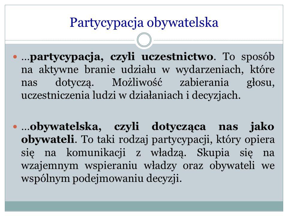 Partycypacja obywatelska …partycypacja, czyli uczestnictwo. To sposób na aktywne branie udziału w wydarzeniach, które nas dotyczą. Możliwość zabierani
