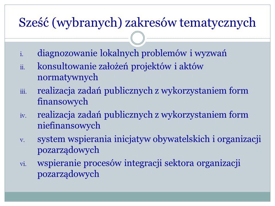 Sześć (wybranych) zakresów tematycznych i. diagnozowanie lokalnych problemów i wyzwań ii. konsultowanie założeń projektów i aktów normatywnych iii. re