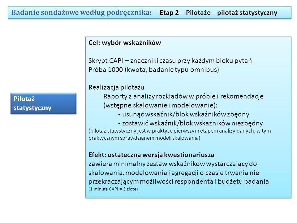 Badanie sondażowe według podręcznika: Etap 2 – Pilotaże – pilotaż statystyczny Pilotaż statystyczny Cel: wybór wskaźników Skrypt CAPI – znaczniki czasu przy każdym bloku pytań Próba 1000 (kwota, badanie typu omnibus) Realizacja pilotażu Raporty z analizy rozkładów w próbie i rekomendacje (wstępne skalowanie i modelowanie): - usunąć wskaźnik/blok wskaźników zbędny - zostawić wskaźnik/blok wskaźników niezbędny (pilotaż statystyczny jest w praktyce pierwszym etapem analizy danych, w tym praktycznym sprawdzianem modeli skalowania) Efekt: ostateczna wersja kwestionariusza zawiera minimalny zestaw wskaźników wystarczający do skalowania, modelowania i agregacji o czasie trwania nie przekraczającym możliwości respondenta i budżetu badania (1 minuta CAPI = 3 złote) Cel: wybór wskaźników Skrypt CAPI – znaczniki czasu przy każdym bloku pytań Próba 1000 (kwota, badanie typu omnibus) Realizacja pilotażu Raporty z analizy rozkładów w próbie i rekomendacje (wstępne skalowanie i modelowanie): - usunąć wskaźnik/blok wskaźników zbędny - zostawić wskaźnik/blok wskaźników niezbędny (pilotaż statystyczny jest w praktyce pierwszym etapem analizy danych, w tym praktycznym sprawdzianem modeli skalowania) Efekt: ostateczna wersja kwestionariusza zawiera minimalny zestaw wskaźników wystarczający do skalowania, modelowania i agregacji o czasie trwania nie przekraczającym możliwości respondenta i budżetu badania (1 minuta CAPI = 3 złote)