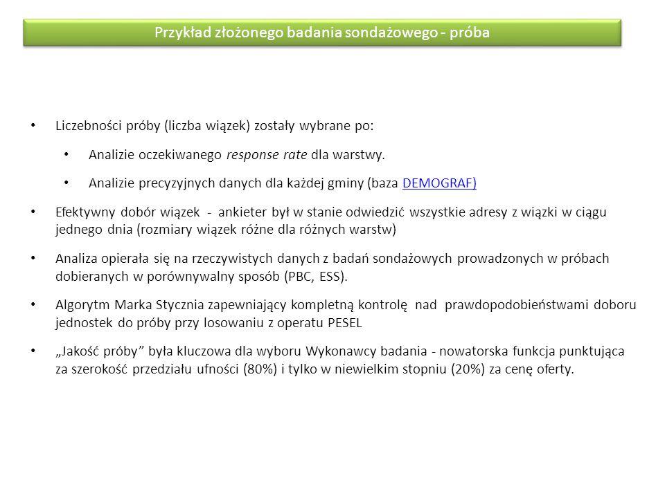Liczebności próby (liczba wiązek) zostały wybrane po: Analizie oczekiwanego response rate dla warstwy. Analizie precyzyjnych danych dla każdej gminy (