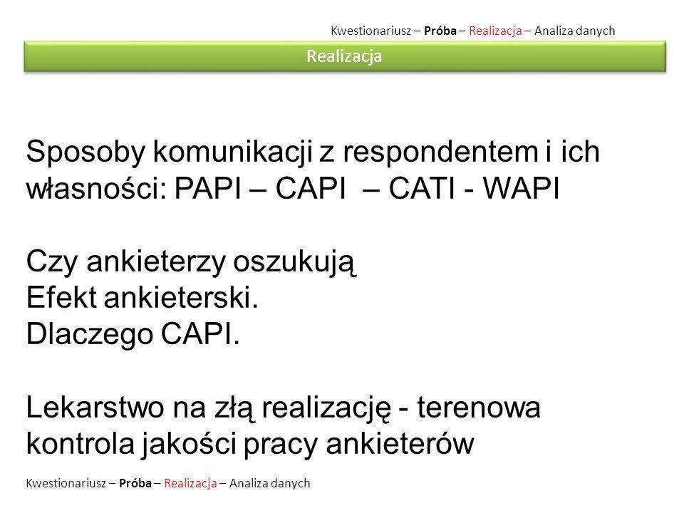 Kwestionariusz – Próba – Realizacja – Analiza danych Sposoby komunikacji z respondentem i ich własności: PAPI – CAPI – CATI - WAPI Czy ankieterzy oszukują Efekt ankieterski.