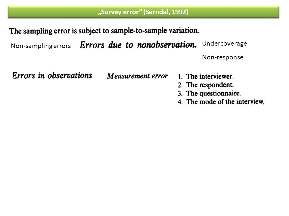 """Survey error"" (Sarndal, 1992) Non-sampling errors Undercoverage Non-response"