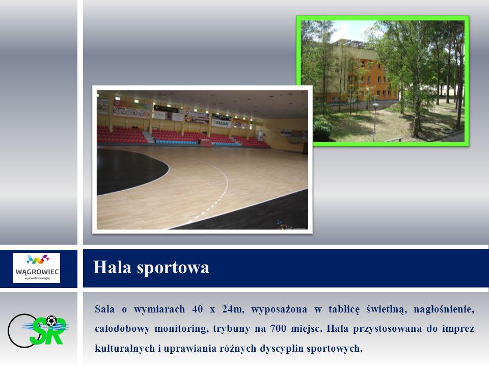 Sala o wymiarach 40 x 24m, wyposażona w tablicę świetlną, nagłośnienie, całodobowy monitoring, trybuny na 700 miejsc.