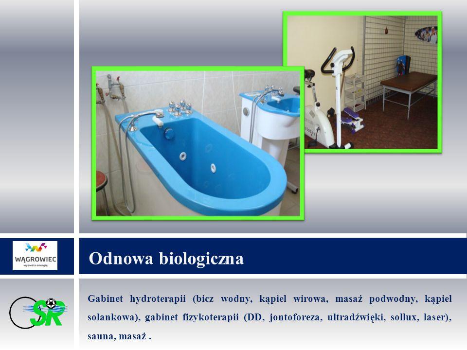 Odnowa biologiczna Gabinet hydroterapii (bicz wodny, kąpiel wirowa, masaż podwodny, kąpiel solankowa), gabinet fizykoterapii (DD, jontoforeza, ultradźwięki, sollux, laser), sauna, masaż.