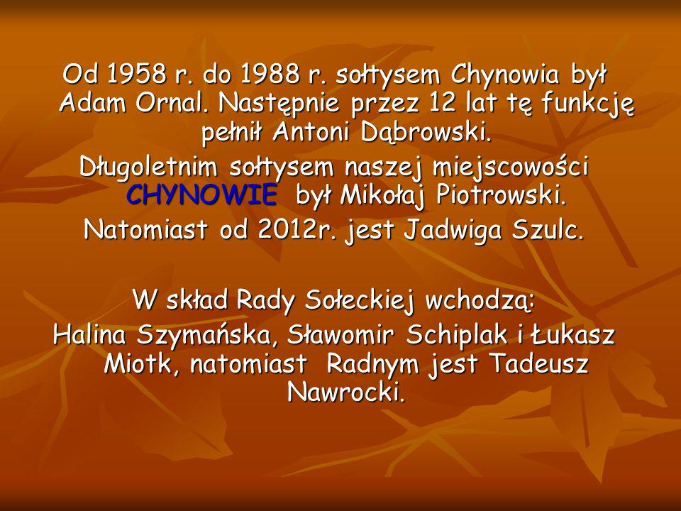 Od 1958 r. do 1988 r. sołtysem Chynowia był Adam Ornal. Następnie przez 12 lat tę funkcję pełnił Antoni Dąbrowski. Długoletnim sołtysem naszej miejsco