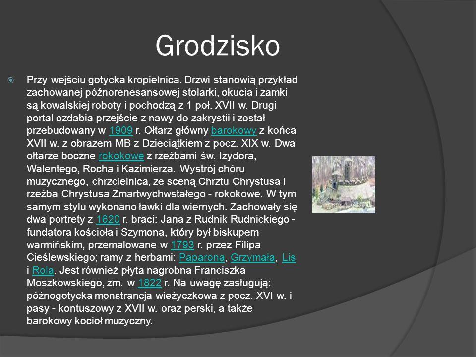 Grodzisko  Grodzisko – wieś w Polsce położona w województwie łódzkim, w powiecie łęczyckim, w gminie Świnice Warckie. W latach 1975-1998 miejscowość