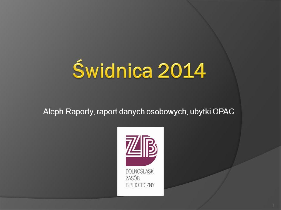 Aleph Raporty, raport danych osobowych, ubytki OPAC. 1