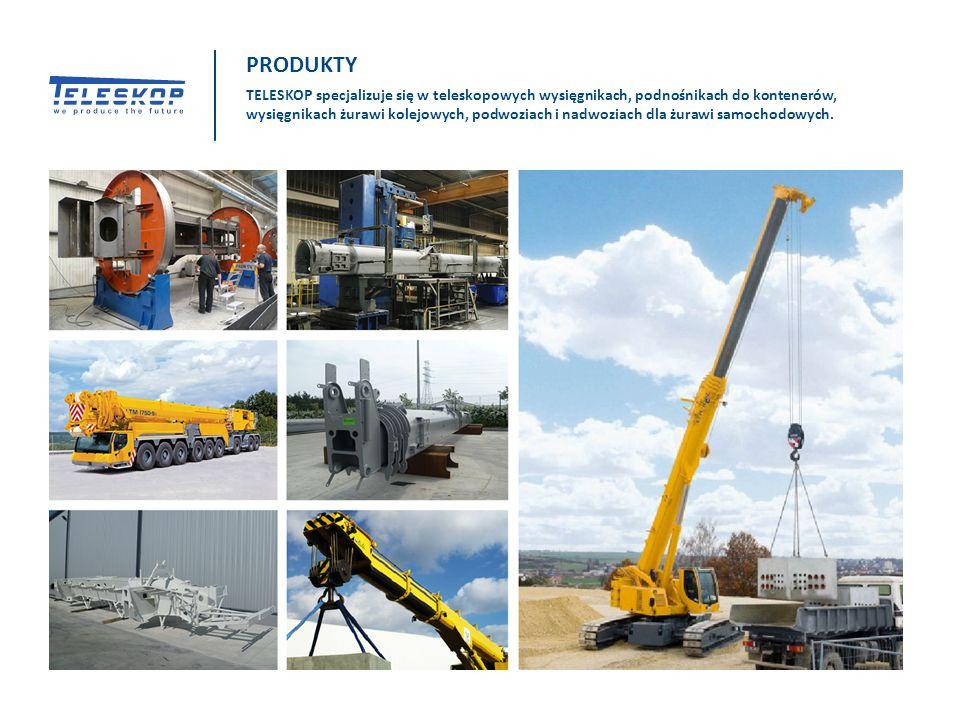 TELESKOP specjalizuje się w teleskopowych wysięgnikach, podnośnikach do kontenerów, wysięgnikach żurawi kolejowych, podwoziach i nadwoziach dla żurawi