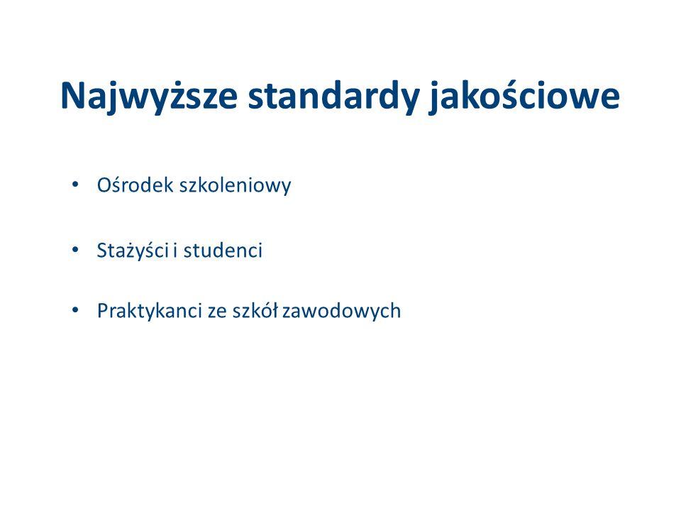 Najwyższe standardy jakościowe Ośrodek szkoleniowy Stażyści i studenci Praktykanci ze szkół zawodowych