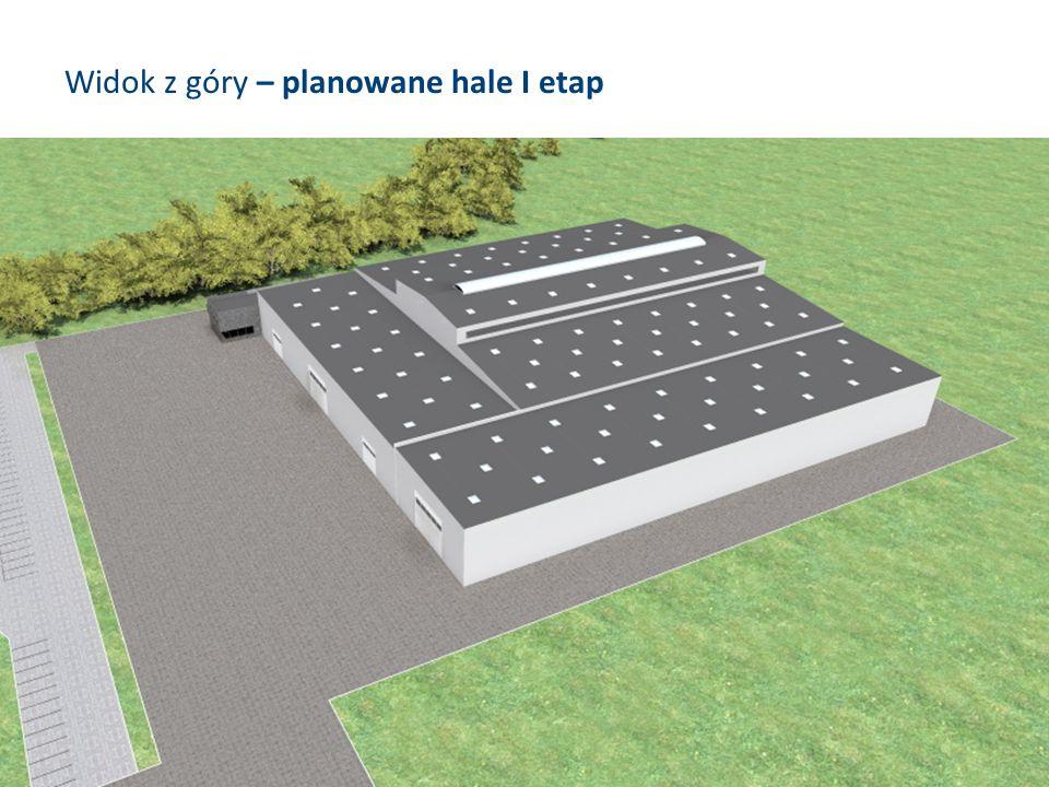Widok z góry – planowane hale I etap