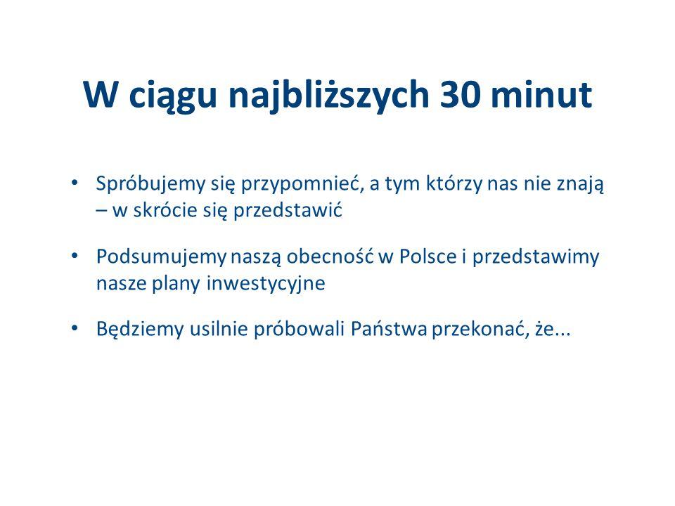 W ciągu najbliższych 30 minut Spróbujemy się przypomnieć, a tym którzy nas nie znają – w skrócie się przedstawić Podsumujemy naszą obecność w Polsce i