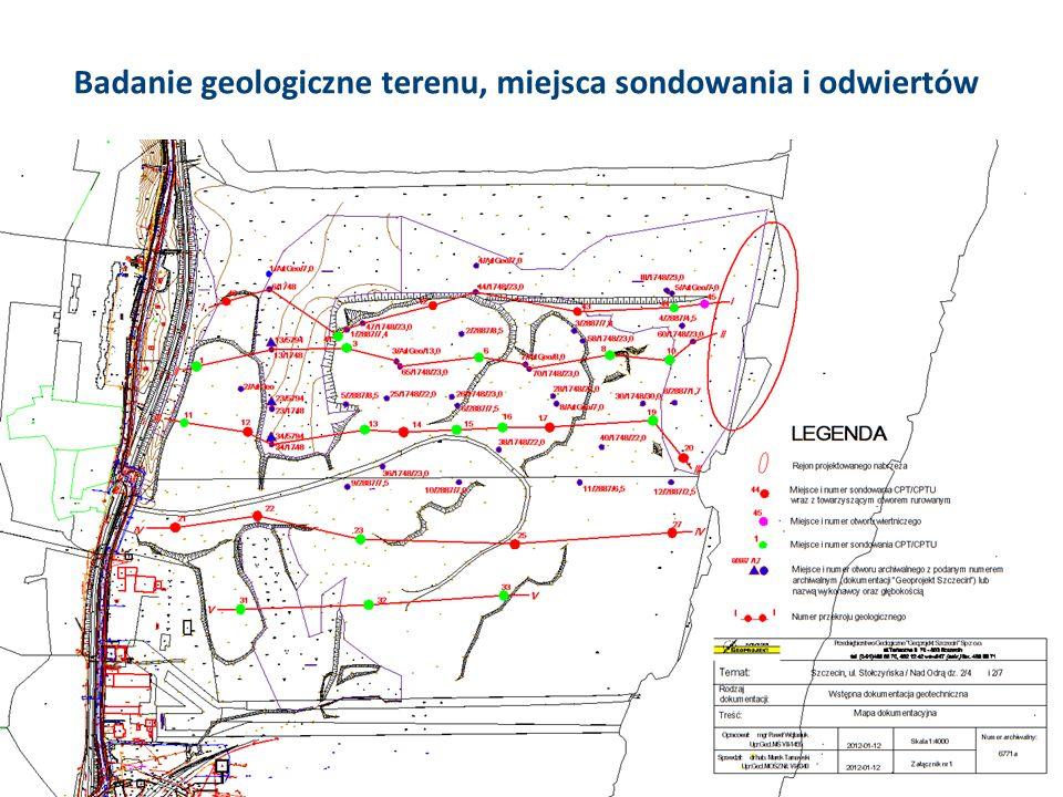 Badanie geologiczne terenu, miejsca sondowania i odwiertów