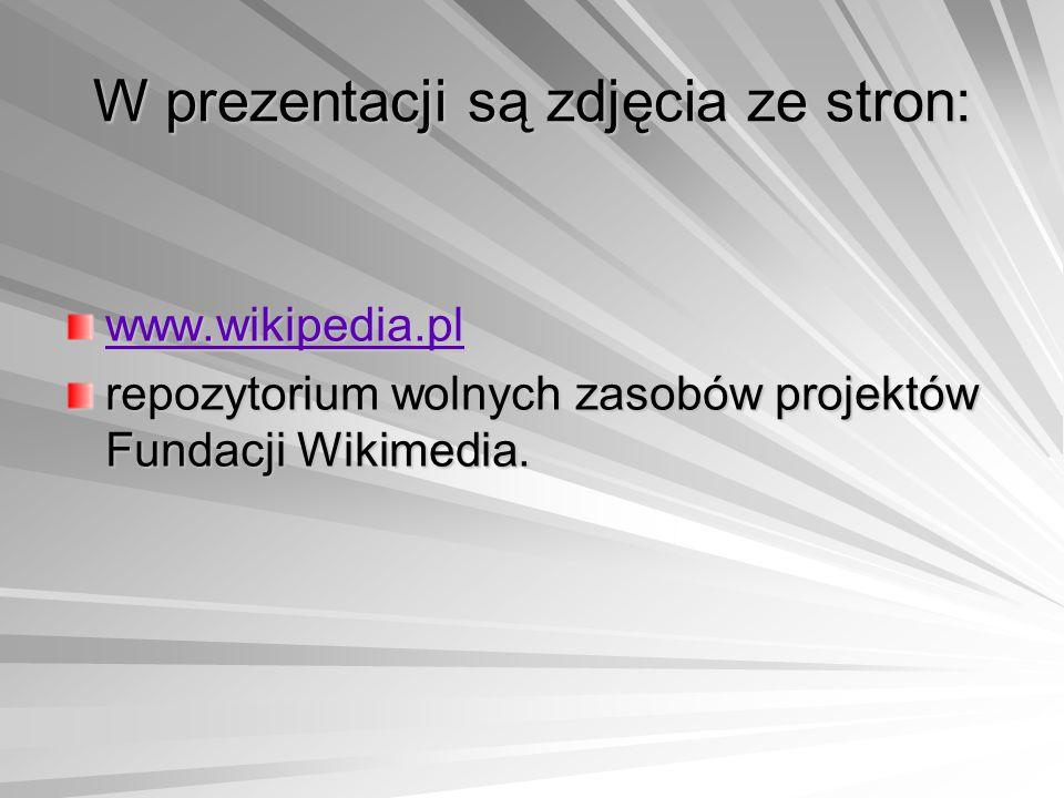 W prezentacji są zdjęcia ze stron: www.wikipedia.pl repozytorium wolnych zasobów projektów Fundacji Wikimedia.