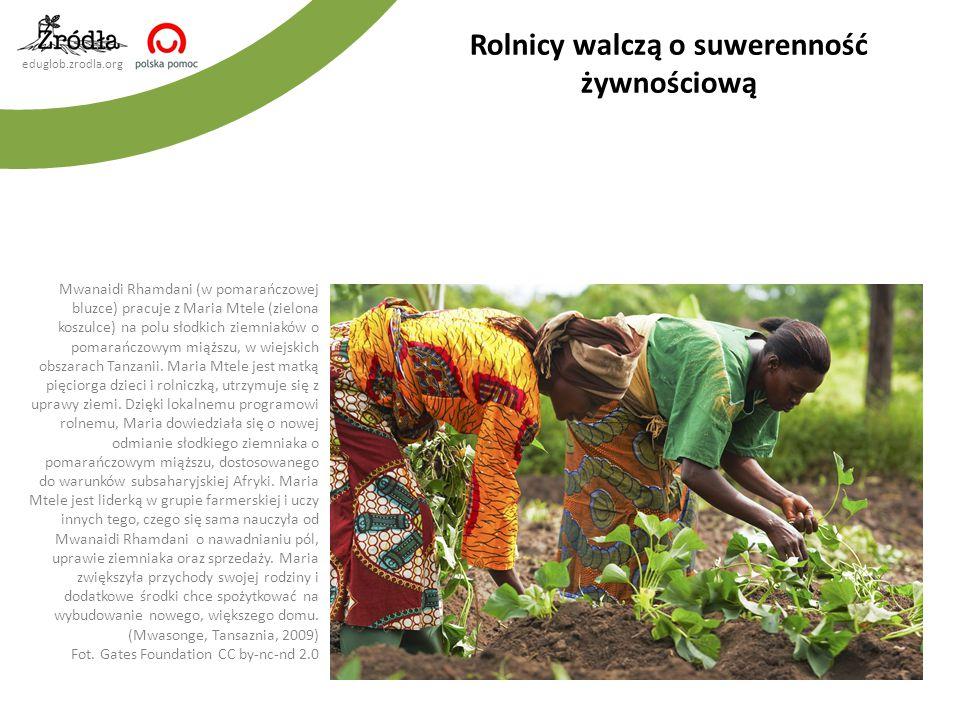 eduglob.zrodla.org Rolnicy walczą o suwerenność żywnościową Mwanaidi Rhamdani (w pomarańczowej bluzce) pracuje z Maria Mtele (zielona koszulce) na pol