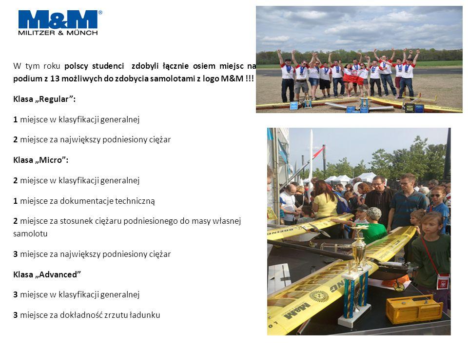 W tym roku polscy studenci zdobyli łącznie osiem miejsc na podium z 13 możliwych do zdobycia samolotami z logo M&M !!.