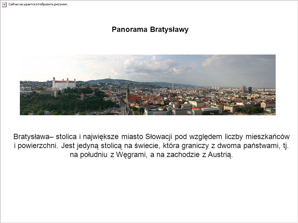 Panorama Bratysławy Bratysława– stolica i największe miasto Słowacji pod względem liczby mieszkańców i powierzchni. Jest jedyną stolicą na świecie, kt