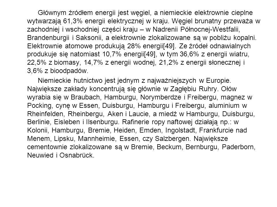 Głównym źródłem energii jest węgiel, a niemieckie elektrownie cieplne wytwarzają 61,3% energii elektrycznej w kraju. Węgiel brunatny przeważa w zachod