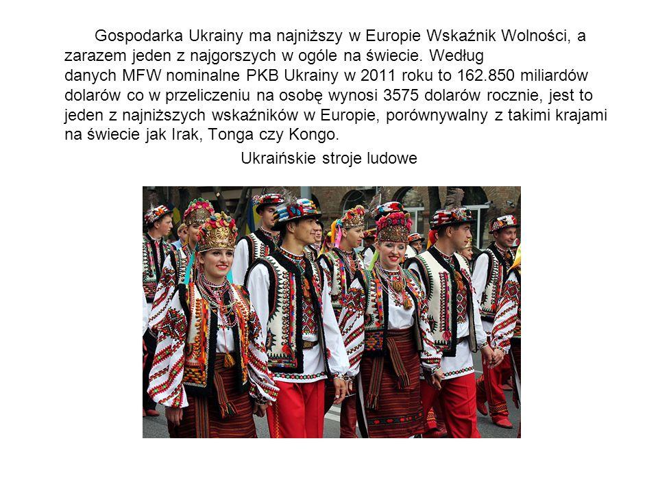 Gospodarka Ukrainy ma najniższy w Europie Wskaźnik Wolności, a zarazem jeden z najgorszych w ogóle na świecie. Według danych MFW nominalne PKB Ukrainy