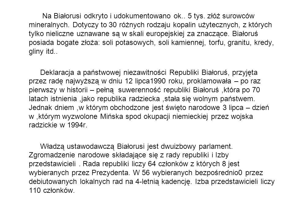 Na Białorusi odkryto i udokumentowano ok.. 5 tys. złóż surowców mineralnych. Dotyczy to 30 różnych rodzaju kopalin użytecznych, z których tylko nielic