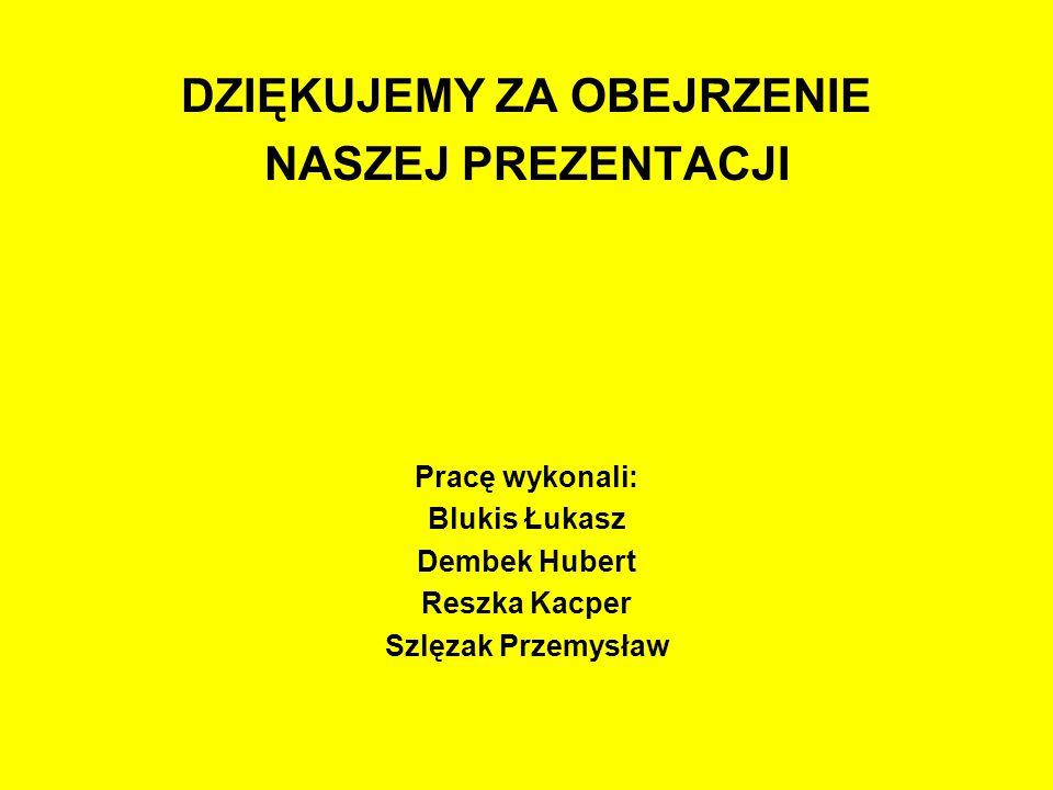 DZIĘKUJEMY ZA OBEJRZENIE NASZEJ PREZENTACJI Pracę wykonali: Blukis Łukasz Dembek Hubert Reszka Kacper Szlęzak Przemysław