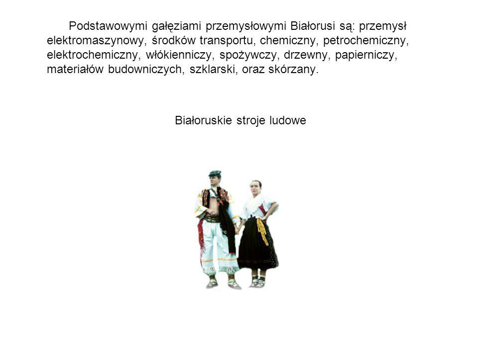 Podstawowymi gałęziami przemysłowymi Białorusi są: przemysł elektromaszynowy, środków transportu, chemiczny, petrochemiczny, elektrochemiczny, włókien