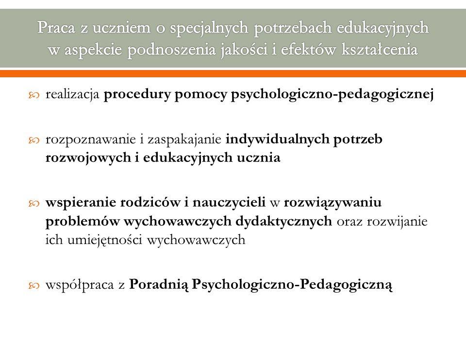  realizacja procedury pomocy psychologiczno-pedagogicznej  rozpoznawanie i zaspakajanie indywidualnych potrzeb rozwojowych i edukacyjnych ucznia  w