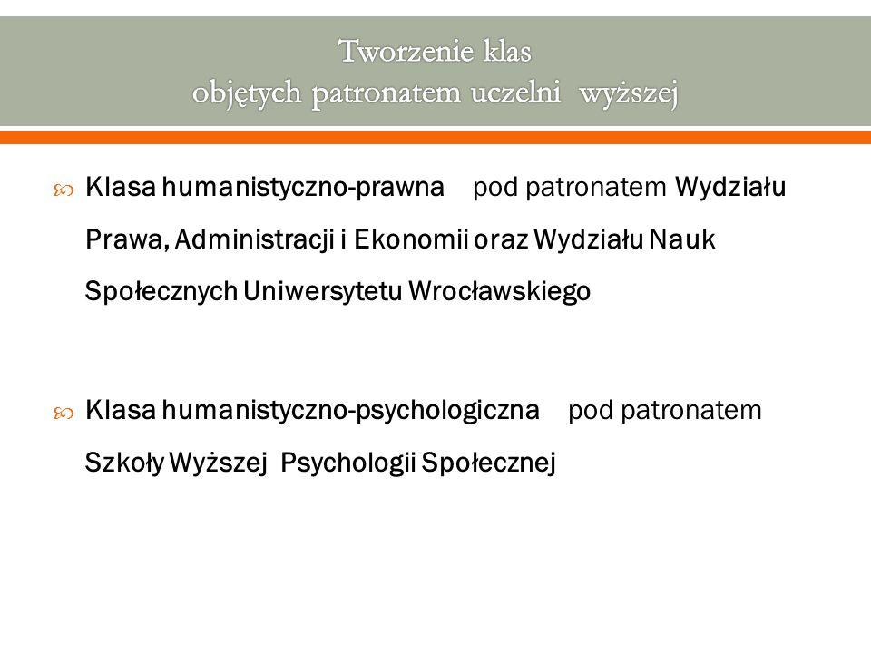  Klasa humanistyczno-prawna pod patronatem Wydziału Prawa, Administracji i Ekonomii oraz Wydziału Nauk Społecznych Uniwersytetu Wrocławskiego  Klasa humanistyczno-psychologiczna pod patronatem Szkoły Wyższej Psychologii Społecznej