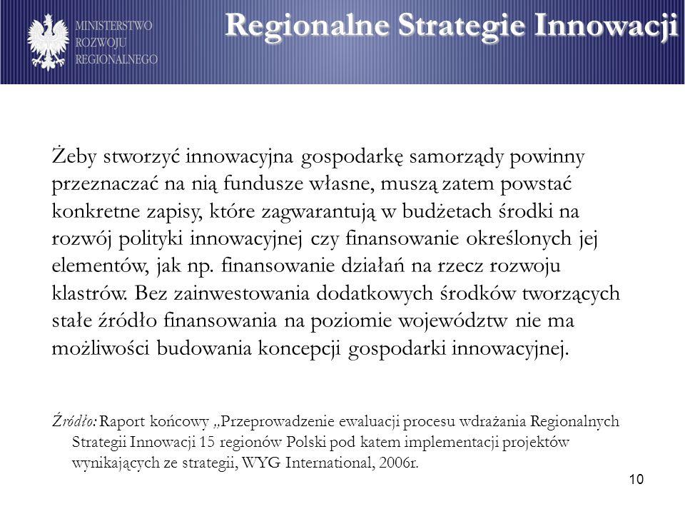 10 Żeby stworzyć innowacyjna gospodarkę samorządy powinny przeznaczać na nią fundusze własne, muszą zatem powstać konkretne zapisy, które zagwarantują w budżetach środki na rozwój polityki innowacyjnej czy finansowanie określonych jej elementów, jak np.