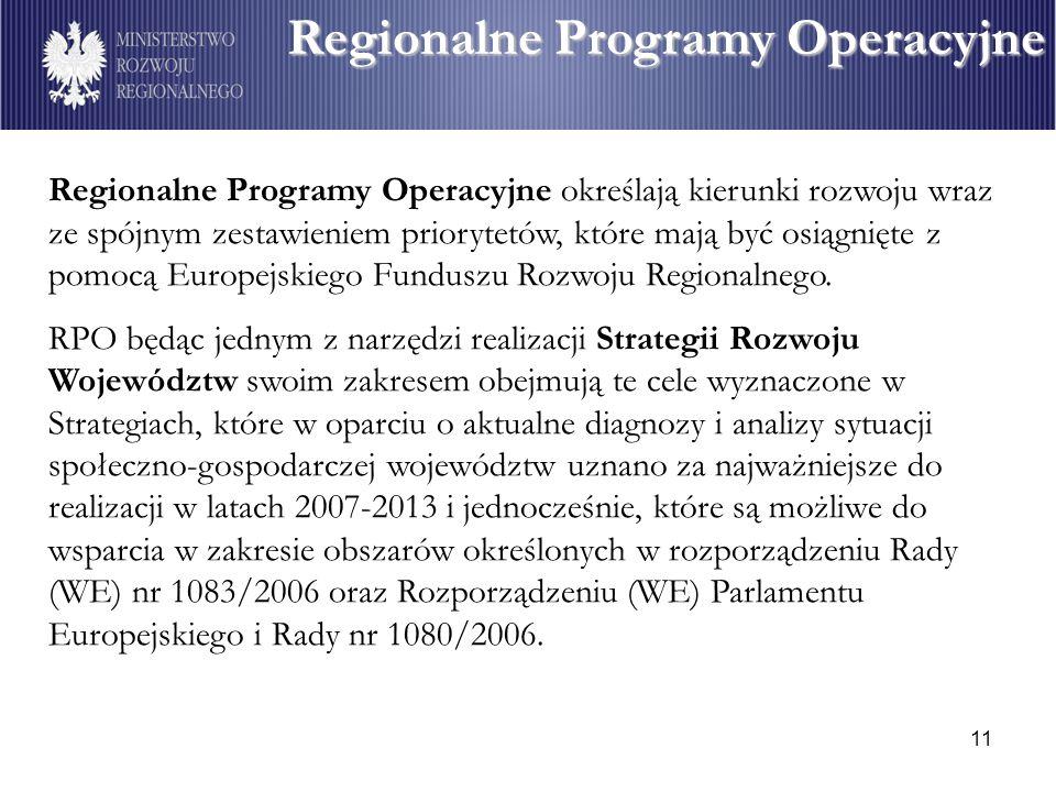 11 Regionalne Programy Operacyjne Regionalne Programy Operacyjne określają kierunki rozwoju wraz ze spójnym zestawieniem priorytetów, które mają być osiągnięte z pomocą Europejskiego Funduszu Rozwoju Regionalnego.