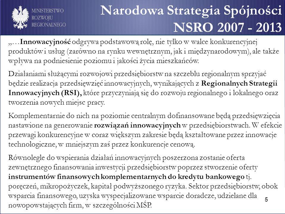 """5 Narodowa Strategia Spójności NSRO 2007 - 2013 """"…Innowacyjność odgrywa podstawową rolę, nie tylko w walce konkurencyjnej produktów i usług (zarówno na rynku wewnętrznym, jak i międzynarodowym), ale także wpływa na podniesienie poziomu i jakości życia mieszkańców."""