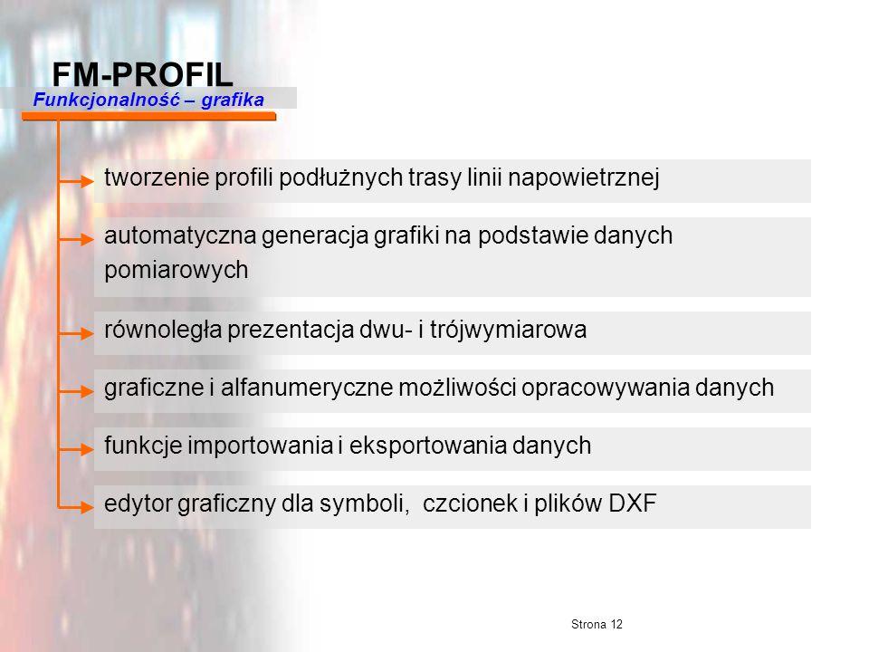 Strona 12 FM-PROFIL Funkcjonalność – grafika tworzenie profili podłużnych trasy linii napowietrznej automatyczna generacja grafiki na podstawie danych